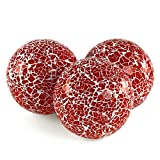 MDLUU 3 Pcs Decorative Orbs, Mosaic Sphere Balls, Centerpiece Balls for Bowls, Vases, Dining Table Decor, Diameter 4 Inches (Red)