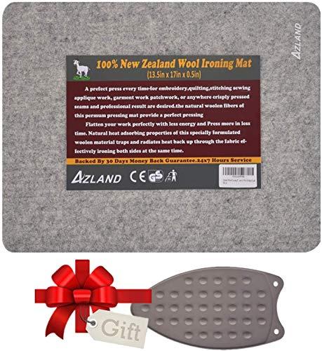 Alfombrilla para planchar de lana con almohadilla de silicona para planchar, 100% lana de Nueva Zelanda, tabla de planchar de fieltro para colchas, acolchados, coser, patchwork, costuras, 43 x 34 cm