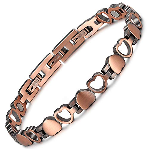 RainSo Magnettherapie-Armbänder für Damen, Herz-Design, reines Kupfer, zur Schmerzlinderung bei Arthritis, verstellbar, mit Geschenkbox