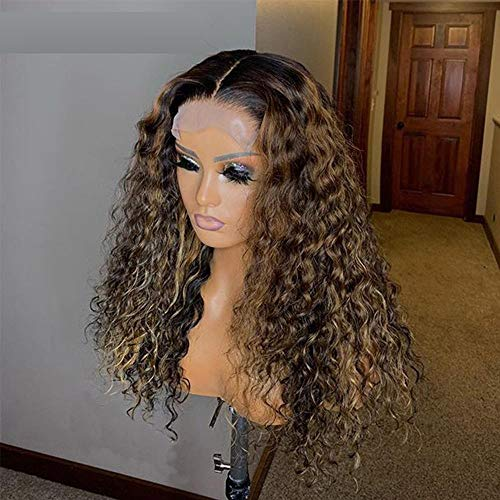 CBAQSY 13 * 6 encaje frontal cabello humano para mujer marrón oscuro rizado sin cola peluca densidad 150% -16 pulgadas