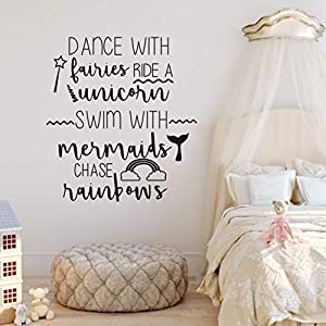 nursery room quotes wall decal dance with fairies ride a unicorn wall art sticker mermaid rainbow removable wall murals for kids bedroom girl room wall sticker qq325 black finsh szie 26x28inch