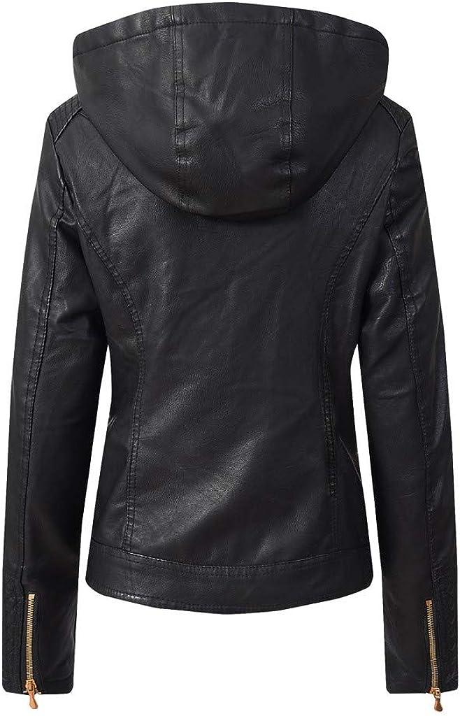 jin&Co Leather Jacket Women with Hoody Winter Internal Velvet Thick Full Zip Casual Moto Biker Jacket Hooded Coat