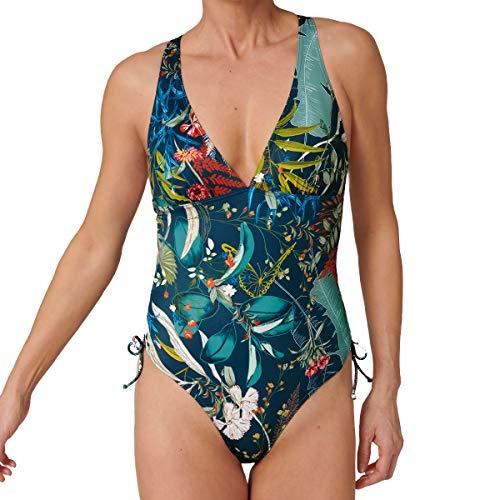 Triumph - Costume da bagno da donna – Botanical Leaf OP – Costume da bagno Blu - Dark Combination. 3C