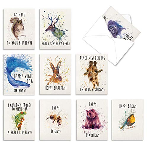 The Best Card Company - 10 Happy Birthday Note Cards Blank - Assorted Bulk Birthday Notecards, Cute Animals Boxed Set (4 x 5.12 Inch) - Wildlife Expressions M2954BDB