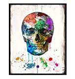 Pop Art Skull Wall Decor - Urban Graffiti Style Decoration - 8x10 Poster for Living Room, Bedroom, Apartment - Cool Unique Gift for Men, Teens, Goth, Gothic, Steampunk, Street Art Fans - UNFRAMED