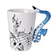 Novelty Saxophone Handle Music Mug Unique Art Musical Notes Holds Tea Coffee Milk Ceramic Mug Cup 300ml Best Gift,Black