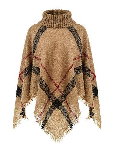 Ferand Warmer Weicher Karierter Damen Poncho-Pullover mit Kapuze oder Rollkragen, Rollkragen Version: Kamel, Einheitsgröße (Beste Passform S-L)