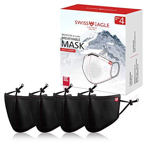 Swiss Eagle Black Face Mask: Swiss HeiQ Protection with Multi-layer Mesh Filters - Reusable Outdoor Face Covers, Pack of 4