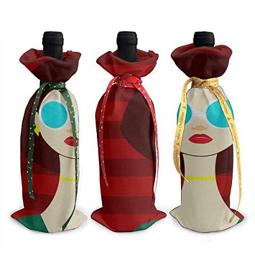 Klare Weintaschen Brille Mädchen Mode Coole 3 Stück Chirtmas Weiasche Geschenkhülle
