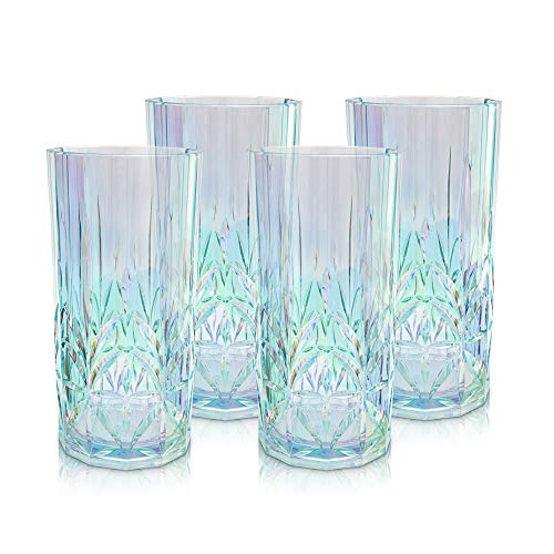 Myrtle Beach Tall Tumber -set of 4, Shatterproof Tritan Drinking Glasses, Unique Plastic Tumblers - Unbreakable Glassware for Indoor and Outdoor Use - Reusable Drinkware, BPA Free