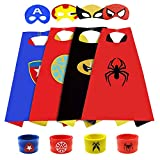 SUPRBIRD Costumi da Supereroi per Bambini ,4pezzi cloaks ,4 pezzi maschere e 4 Braccialetti schiaffo Costumi da Supereroi Halloween Costume Cosplay Regalo di Compleanno