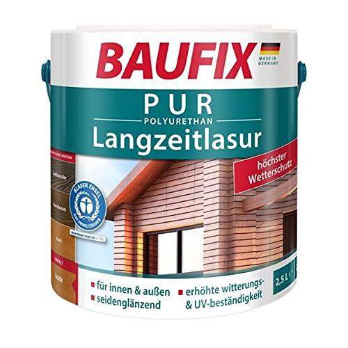 BAUFIX PUR Langzeitlasur, Holzlasur, Innen & Außen, Teak, 2,5 L