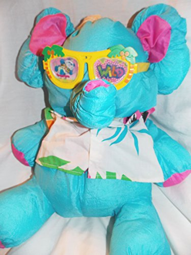 Fisher-Price 1987 Wild Puffalumps 16' Blue Elephant Puffalump with Sunglasses and Flowered Shirt