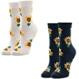 Women Girls Novelty Funny Sunflower Crew Socks, Cute Funky Floral Christmas Wear