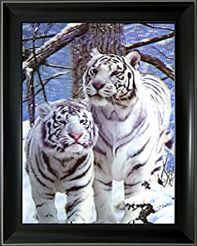 Lee s Collection Holographic 14.5 inches x 18.5 inches White Tigers 3D Animated Picture with Black Frame