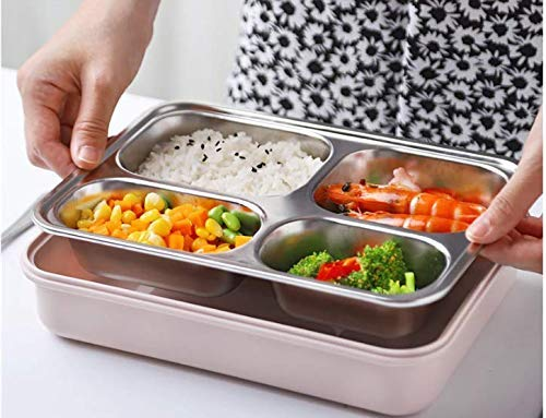 Sankirtan Stainless Steel Bento Box Portable Insulated Lunch Box - 3-Compartment Lunch Box with Cutlery - Safe Materials BPA-Free Leakproof Used for Travel, Outing
