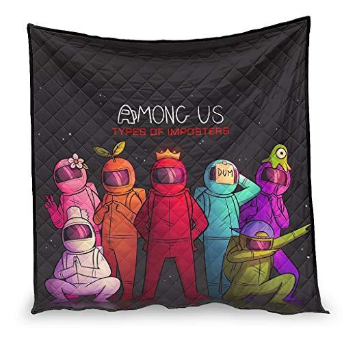 YshChemiy Among Us - Colcha de algodón para cama de coche, antibolitas, colcha impresa en 3D, colcha para niños y niñas, color blanco 173 x 203 cm
