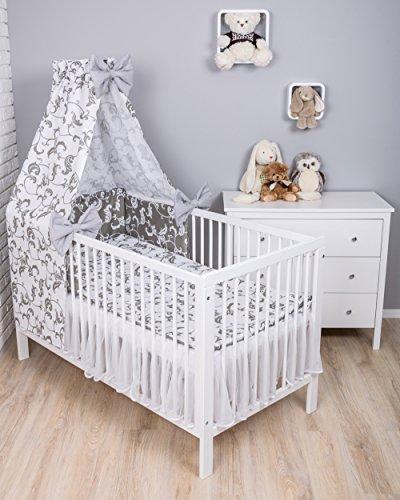 Amilian® Baby Bettwäsche 7tlg Bettset mit Nestchen Kinderbettwäsche Himmel 100x135cm Retro Weiß/Grau (Vollstoffhimmel)