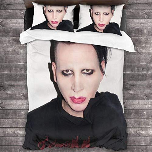 N \ A Marilyn Manson Four Seasons - Juego de funda de edredón (1 funda de edredón y 2 fundas de almohada), juego de cama de 3 piezas de 86 pulgadas x 70