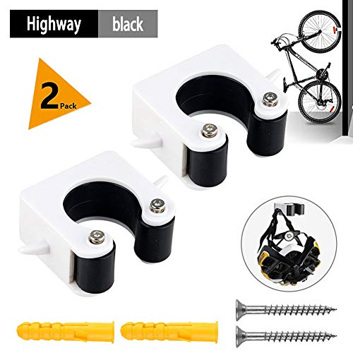 YMWD Bike Clip Indoor Outdoor Wall-Mounted Mountain Bicycle Rack Storage System Portable Parking Buckle Space Saving for Road Bikes and Mountain Bikes (A Pair),Black,MTB, A Pair
