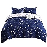 YMY Lightweight Microfiber Bedding Duvet Cover Set, Cute Star Pattern (Blue White Star, Twin)