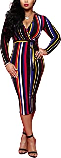 Women's Striped Off Shoulder Casual Long Sleeve Split Maxi Party Dresses with Belt