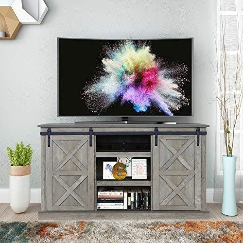 Sliding Barn Door TV Stand, Living Room Entertainment Center, Storage Cabinet with Shelves (Washed Oak)