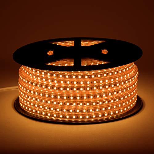 Lumilum LED Strip Lights – Professional 120V Outdoor Waterproof Dimmable – 164 Feet (Amber)