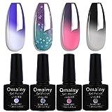 Omainy Gel Nail Polish Set -Color Changing Gel Nail Polish Set Soak Off UV LED Thermal Temperature Art (1013)