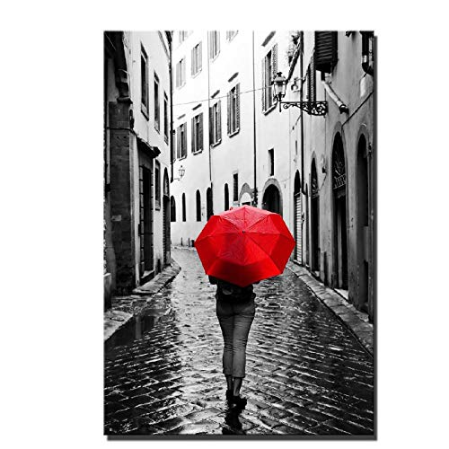 Jwqing Rainy Days Scenery Canvas Schilderijen - Digitale HD Print Vrouw Met Een Rode Paraplu Stad Landschap Home Decor Foto 70x100cm unframed