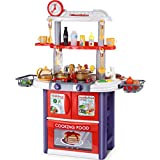 32' Play Kitchen, 2 in 1 Toy Kitchen & Grill Playset Kitchen Pretend Play Toys Kitchen Playset Kids Kitchen Set with Cooking Accessories, Lights, Sounds, Steam, Birthday Toy Gift for Girls Boys
