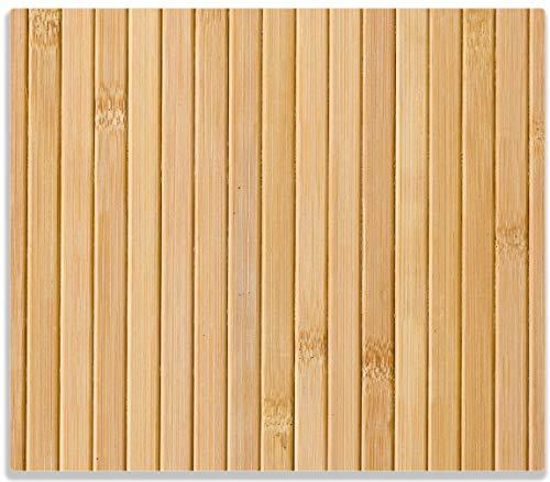 Wallario Herdabdeckplatte/Spritzschutz aus Glas, 1-teilig, 60x52cm, für Ceran- und Induktionsherde, Holzpanele hell