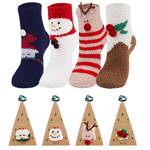 Joyibay 4 Paare Weihnachtssocken, Atmungsaktiv Weihnachten Socken Damen Warme Wintersocken mit Geschenkbox Socken Kuschelsocken für die Weihnachtszeit