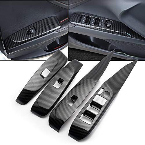 Xotic Tech 4pcs Carbon Fiber Pattern Door Window Lift Lock Panel Switch Button Bezel Cover Trim Driver Passenger Side Compatible with Toyota Camry 2018 2019 2020