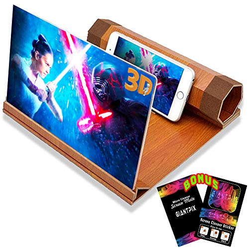 """Screen Magnifier for Cell Phone Mobile Phone Screen Magnifier 12"""" 3D HD Amplifier Capability in Thin Foldable Wooden Phone Magnifying Screen Stand Cool Gadgets for Home Tech Movies Video Magnifier"""