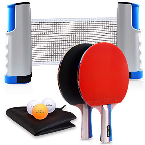 JoyJ Sport Ping Pong Paddle Set with Retractable Net  2 Premium Table Tennis Rackets  3 Standard 3Star Balls Training/Recreational Racquet Kit Portable Cover Case Bag Indoor or Outdoor Play