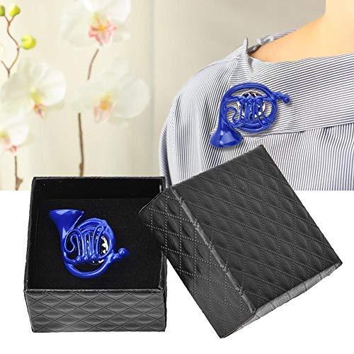 HEEPDD Spilla, Metallo Blu Corno Francese Spilla Spilla Ornamento con Squisito Confezione Regalo per Abiti Artigianali Abbigliamento Cappello Sciarpa Decorazione