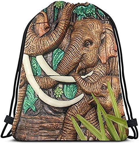 Ancient Elephant Statue Drawstring Backpack Sports Gym Bag For Women Men Drawstring Bag