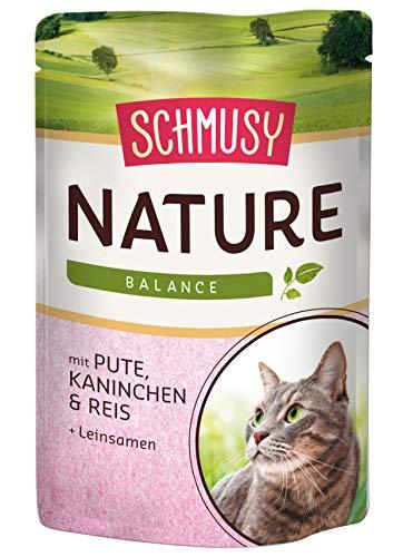 Schmusy Katzenfutter Nature Balance Pute+Kaninchen 100 g, 24er Pack (24 x 100 g)