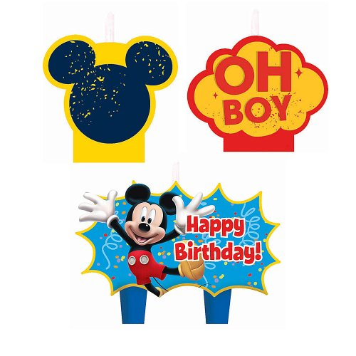 Mickey Mouse Birthday Candles - Birthday and Theme Party Supplies - 4 Per Pack