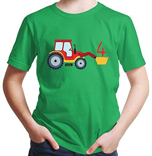 Hariz - Camiseta para niño con diseño de tractor y pala de 4 cumpleaños verde 140
