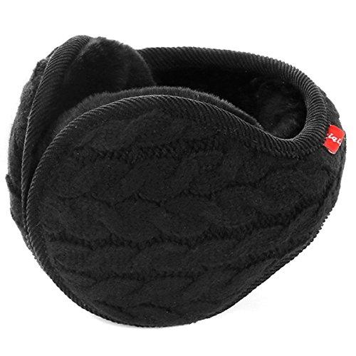 Butterme Unisex Knit Foldable Earmuffs Plüsch Samt Ohrenschützer Winterzubehör Outdoor Ohrenschützer für Herren & Damen (Schwarz#1)