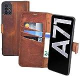 Suncase Book-Style Hülle kompatibel mit Samsung Galaxy A71 Leder Tasche (Slim-Fit) Lederhülle Handytasche Schutzhülle Hülle mit 3 Kartenfächer in antik-Coffee