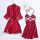 IAMZHL Albornoz Kimono de Mujer Sexy Blanco Novia Dama de Honor Traje de Boda Conjunto de Encaje Ropa de Dormir Ropa Casual para el hogar Ropa de Dormir-Red Robe Set 6-M