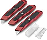 Fixson Retractable Utility Knife 3 Pack Box Cutter with Rubber Handle Grip and 3 Position Locking Blade Perfect 6 in Metal Hobby Knife for Projects and Cutting Included 10 Extra Blades