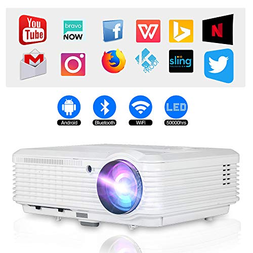 Bluetooth Wireless Smart HD Projector WiFi, Video Projector 4600 Lumen 1280x800 Native Home Theater Android LCD LED Projectors HDMI USB Aux Audio VGA, Home Cinema Game Consoles APPs Outdoor Movies
