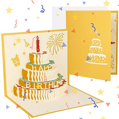 Heyu-Lotus 2 Stück Pop-Up 3D-Karte Geburtstagskarte, Geburtstagsgrußkarten mit Umschlag, Geburtstagskarte mit schönem Papierausschnitt für Frauen Männer Kinder