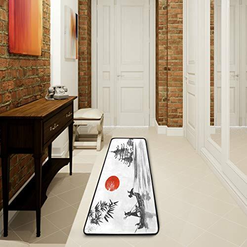 Mnsruu Tapis pour salon, chambre à coucher, cuisine - Motif soleil japonais - 61 x 182,88 cm