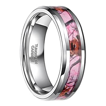 Frank S.Burton 6mm Pink Camo Tungsten Rings for Women Deer Antlers Hunting Camouflage Wedding Band Size 6