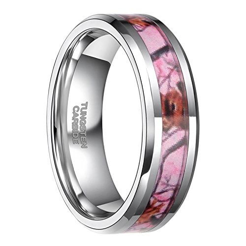 Frank S.Burton 6mm Pink Camo Tungsten Rings for Women Deer Antlers Hunting Camouflage Wedding Band Size 5.5